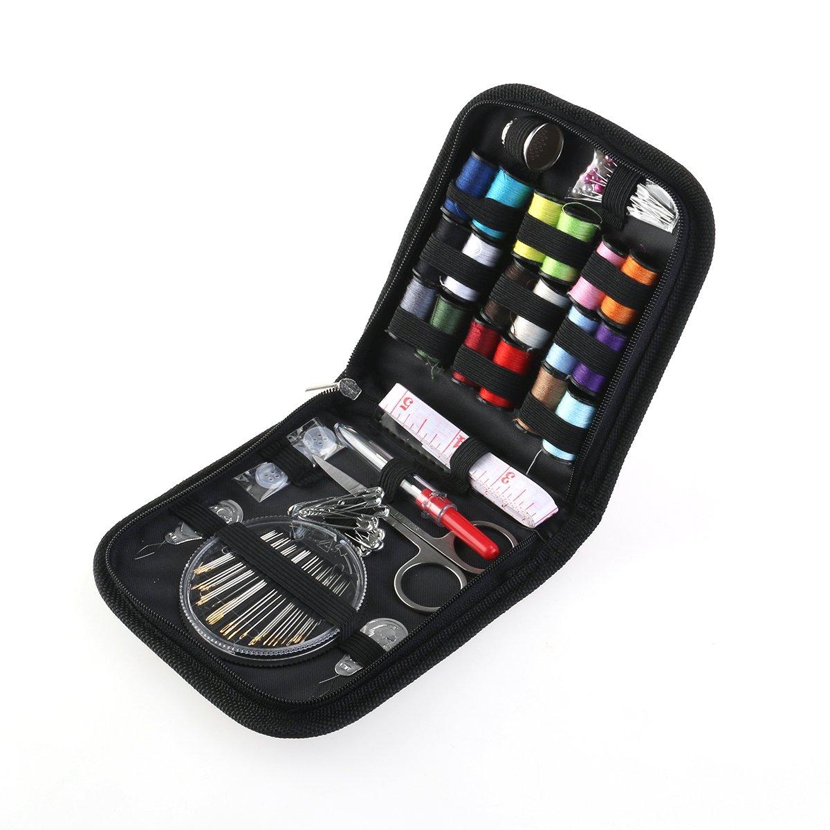 Pixnor 58pcs Kit Portable bilancio Sewing Kit Aghi Thread Forbici Set con blu zippta SCHE Viaggi e Emergenze (Nero)