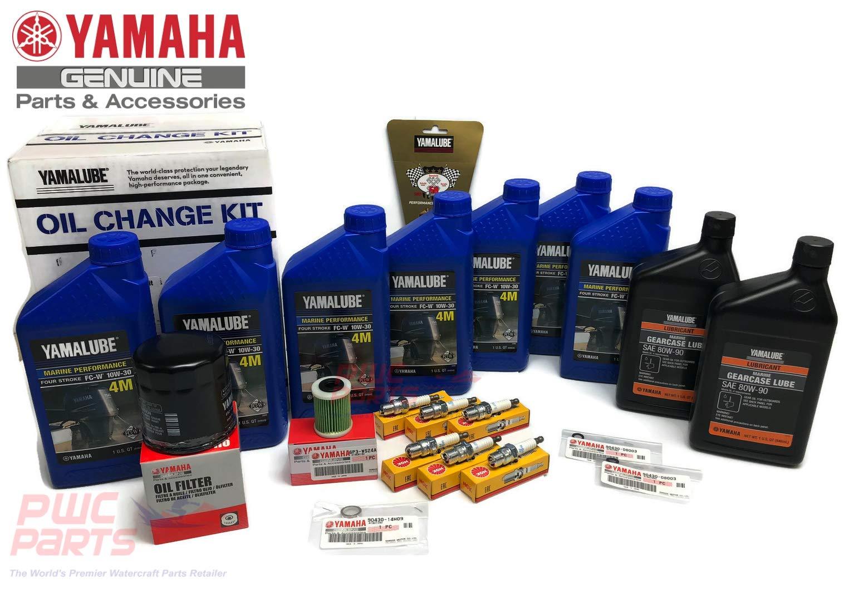YAMAHA OEM F300 CA V6 4.2L Oil Change 10W30 FC 4M Lower Unit Gear Lube Drain Fill Gaskets NGK Spark Plugs LFR6A-11 Primary Fuel Filter Maintenance Kit