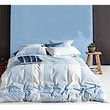 Merryfeel Cotton Duvet Cover Set, 100% Cotton Yarn Dyed Seersucker Duvet Cover Set - Full/Queen