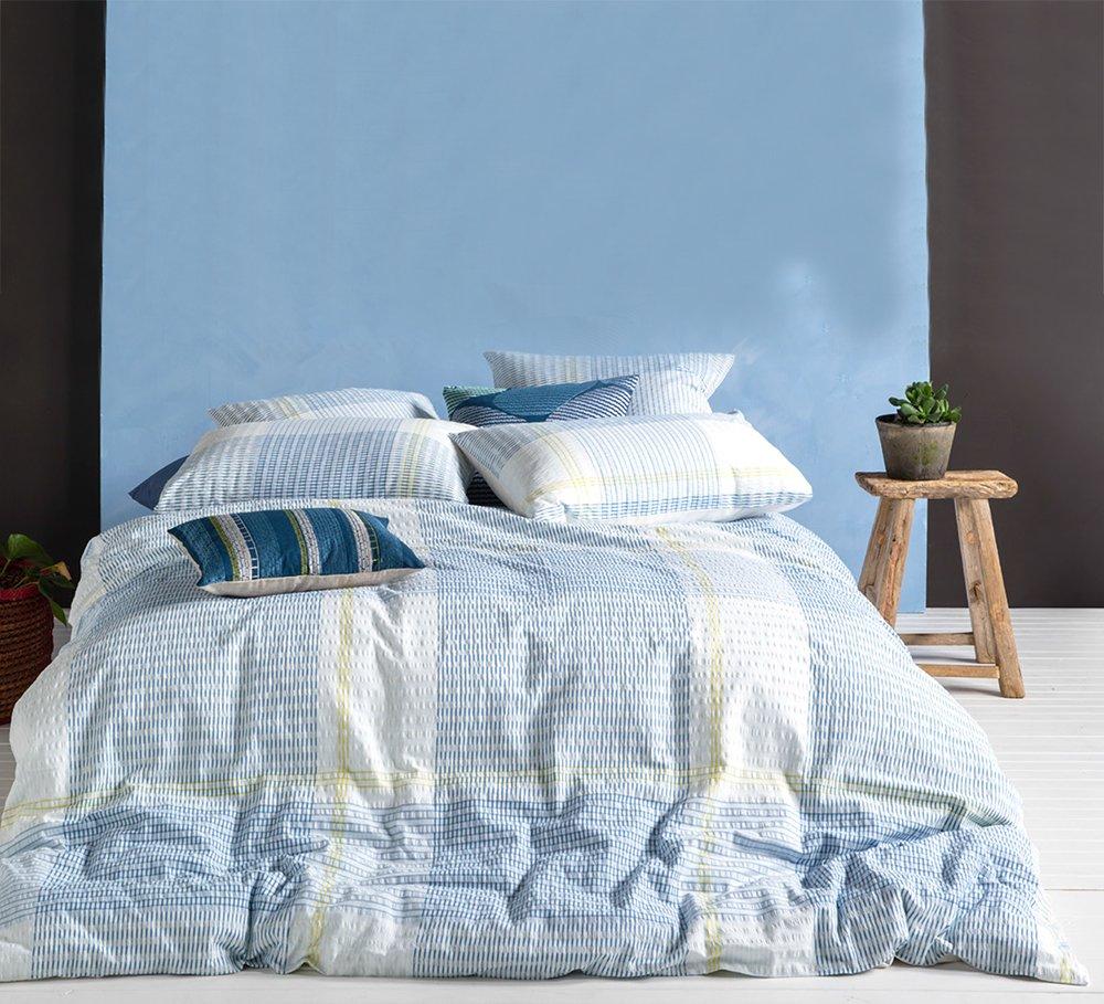 Merryfeel Seersucker Bettbezug Set 100% Baumwolle Garn gefärbt, Baumwolle, Bunt, 200x220+2x80x80cm