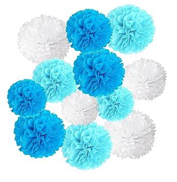 Wartoon Papel Pom Poms Flores Tissue para Decoración de Boda, Fiesta Cumpleaños, Bienvenida al Bebé, 12 Piezas (Azul, cielo azul y blanco)