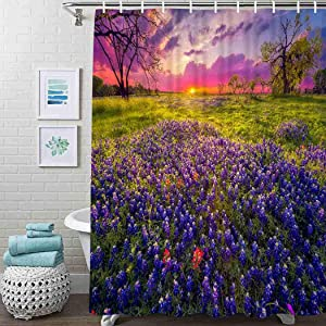 Guftay Wildflower Shower Curtain, Sunrise in The Texas Hill Country Shower Curtain, Waterproof Fabric for Bathroom Decor Shower Curtains Set with Hooks, 60
