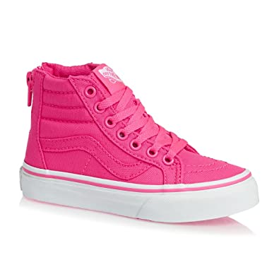 2cffb277c2712 Amazon.com | Vans Kids SK8-Hi Zip (Neon Canvas) Pink/True White ...