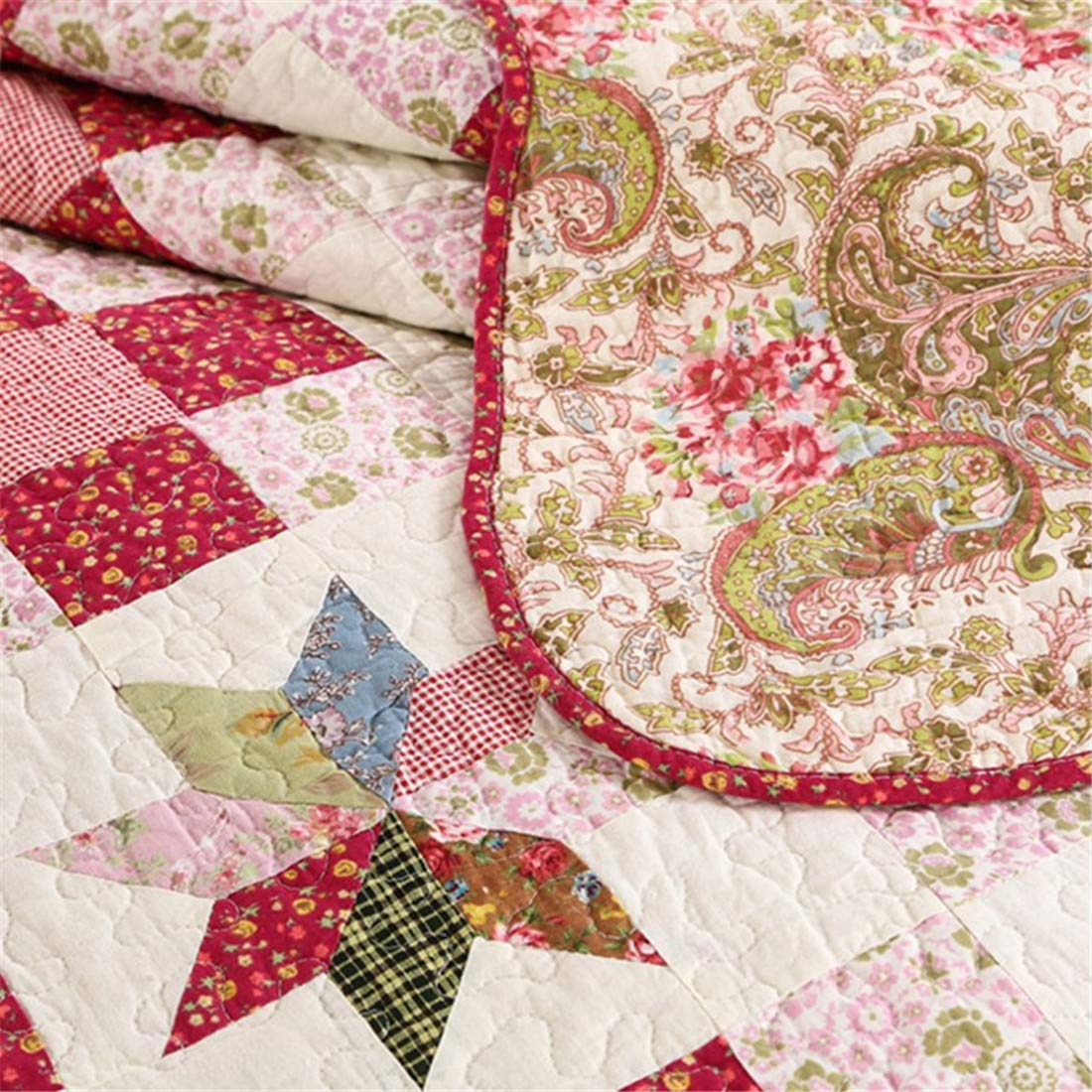 Jameswish Rust Patchwork Quilt Set Cotton 3 Pcs Bedspread Queen Size Reversible Paisley Florals Coverlet Set Bed Cover Set Quilted Blanket for Full and Queen Size Bed