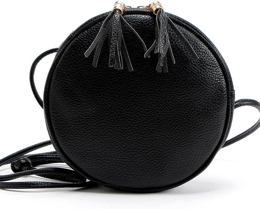 f4e08589d89f Amazon.com  Ladies Tassel Round Shoulder Bag Women Girl Round Leather  Handbag Shoulder Messenger Bag Duseedik  Clothing