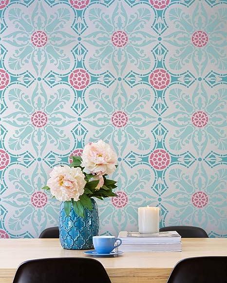Amazon Com Classic Spanish Tile Stencil Large Tile Design