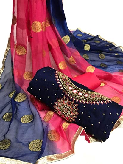 1a10cf9d72 SKYBLUE FASHION Blue and Pink Chanderi Silk Handwork and Embroidered Unstitched  Churidar Salwar Suit Material for Women: Amazon.in: Clothing & Accessories