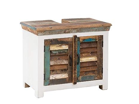 Woodkings® Waschbeckenunterschrank Perth recyceltes Holz ...