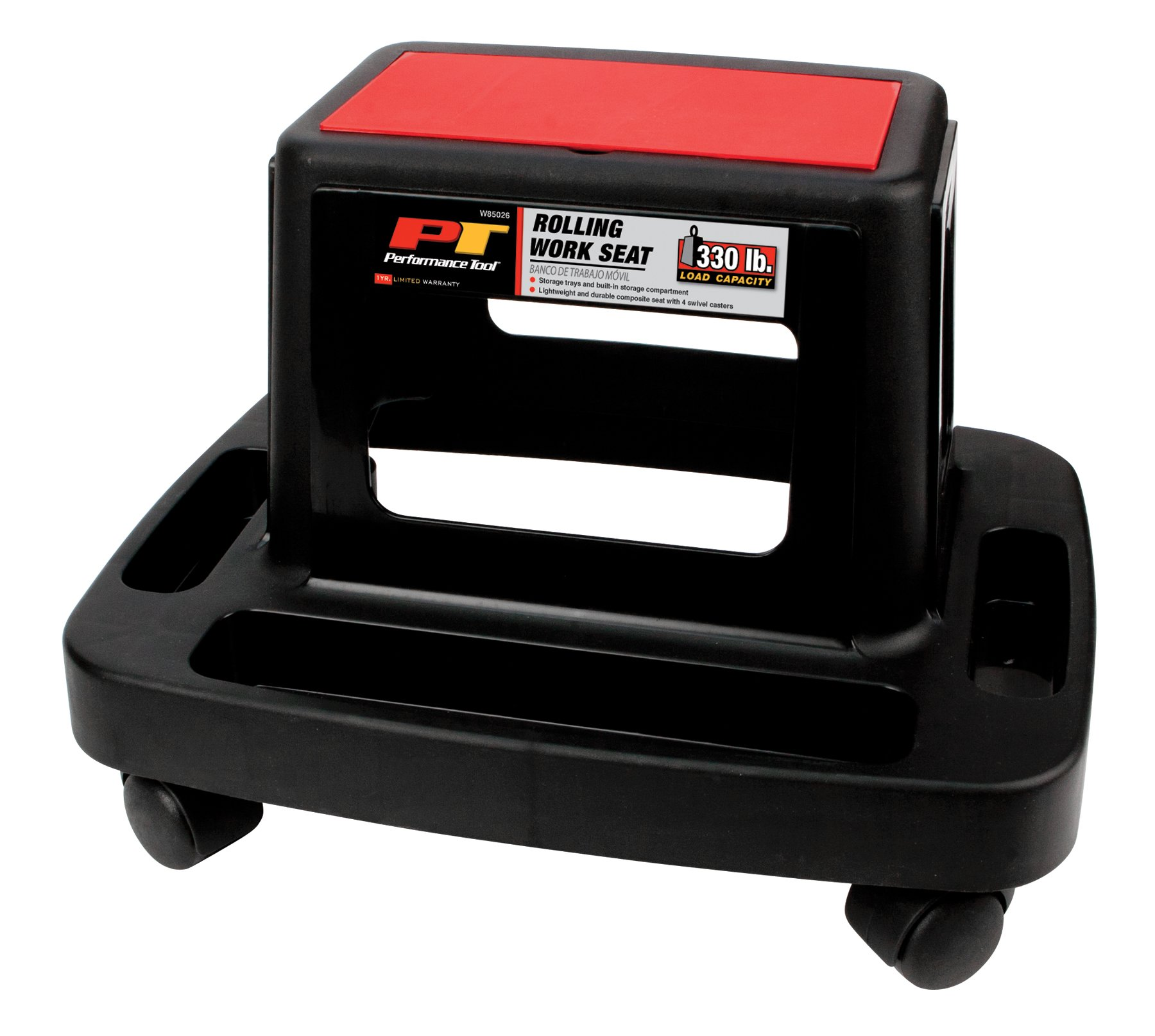 Performance Tool W85026 Rolling Work Seat with Storage Tray