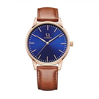 VODRICH Mens Iconic Rose Gold/Blue Watch - Luxury Designer Mens Genuine Leather Brown Band