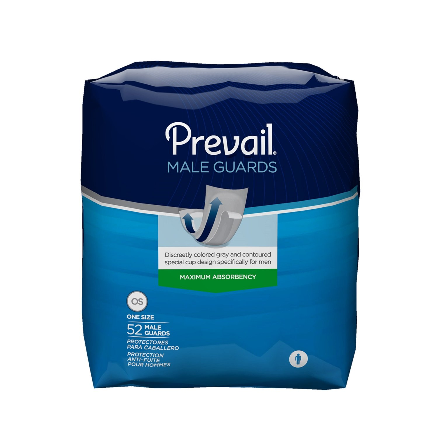 Prevail Maximum Absorbency Incontinence Male Guards, One Size, 52-Count