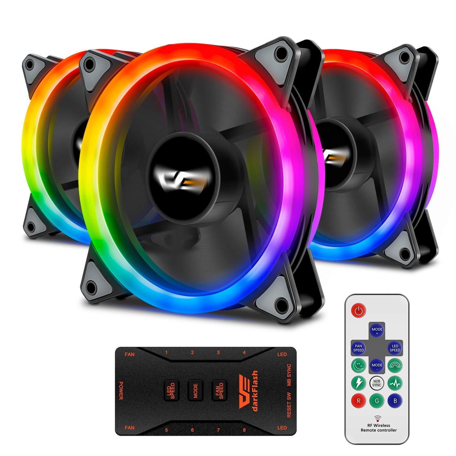 darkFlash Aurora DR12 Pro 3-Pack Addressable 120mm RGB LED Case Fan Kit  Compatible with ASUS Aura Sync High Performance Speed Controllable Colorful