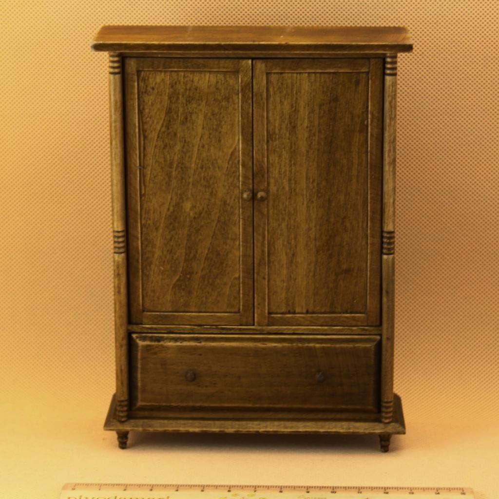 1:12 Dollhouse Miniature Furniture Room Vintage Wooden Wardrobe Door Can Open A