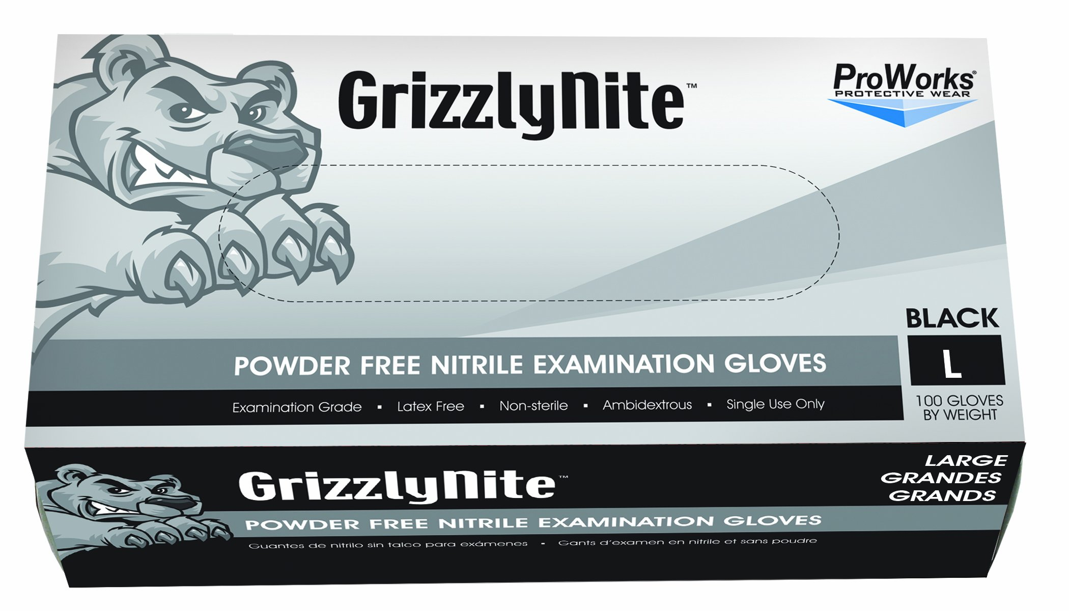 Hospeco ProWorks GrizzlyNite GL-N105FS Exam Grade Nitrile Glove, Powder Free, Disposable, 9.5'' Length, 4.3 mils Thick, Small (Pack of 100)