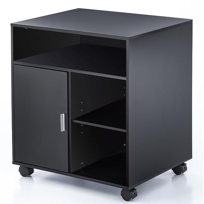 FITUEYES Madera Soporte para Impresora con Ruedas Armario Estantería 60x50cm Negro PS406001WB: Amazon.es: Oficina y papelería