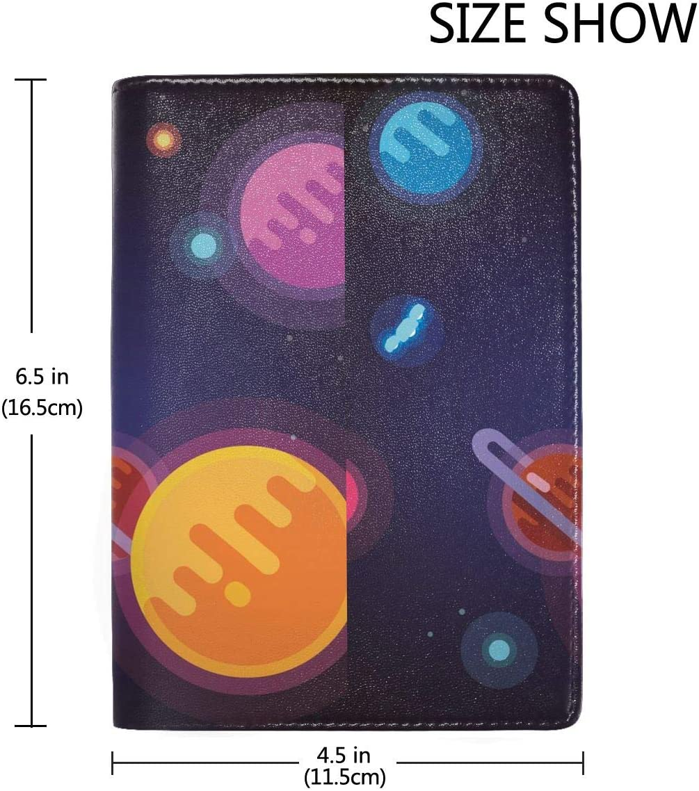 Space Blue Cartoon Illustration Fashion Leather Passport Holder Cover Case Travel Wallet 6.5 In