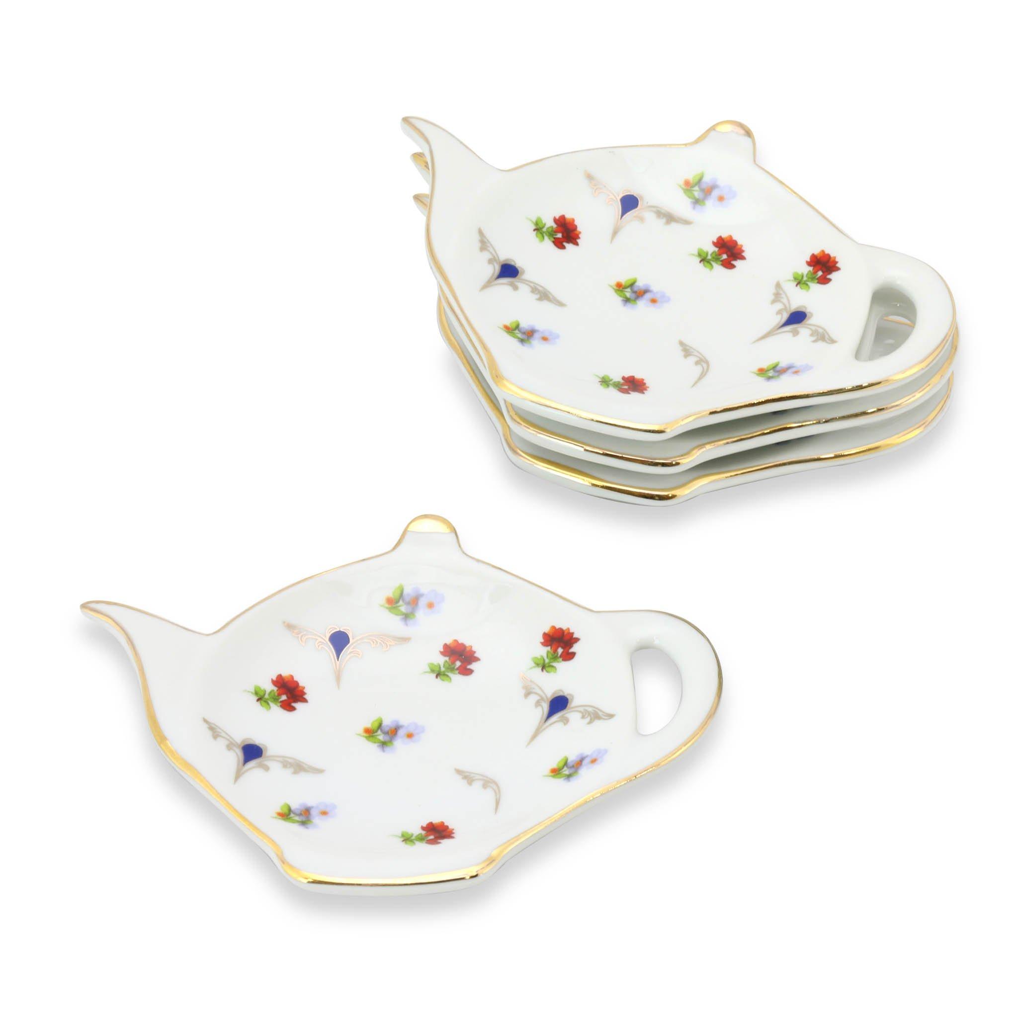 Grace Teaware Tea Bag Caddy Holder, Set of 4 (Chelsea Garden)