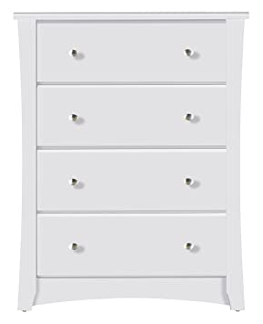 Amazon Com Storkcraft Crescent 4 Drawer Chest White Kids Bedroom Dresser With 4 Drawers Wood Composite Construction Ideal For Nursery Toddlers Room Kids Room Baby