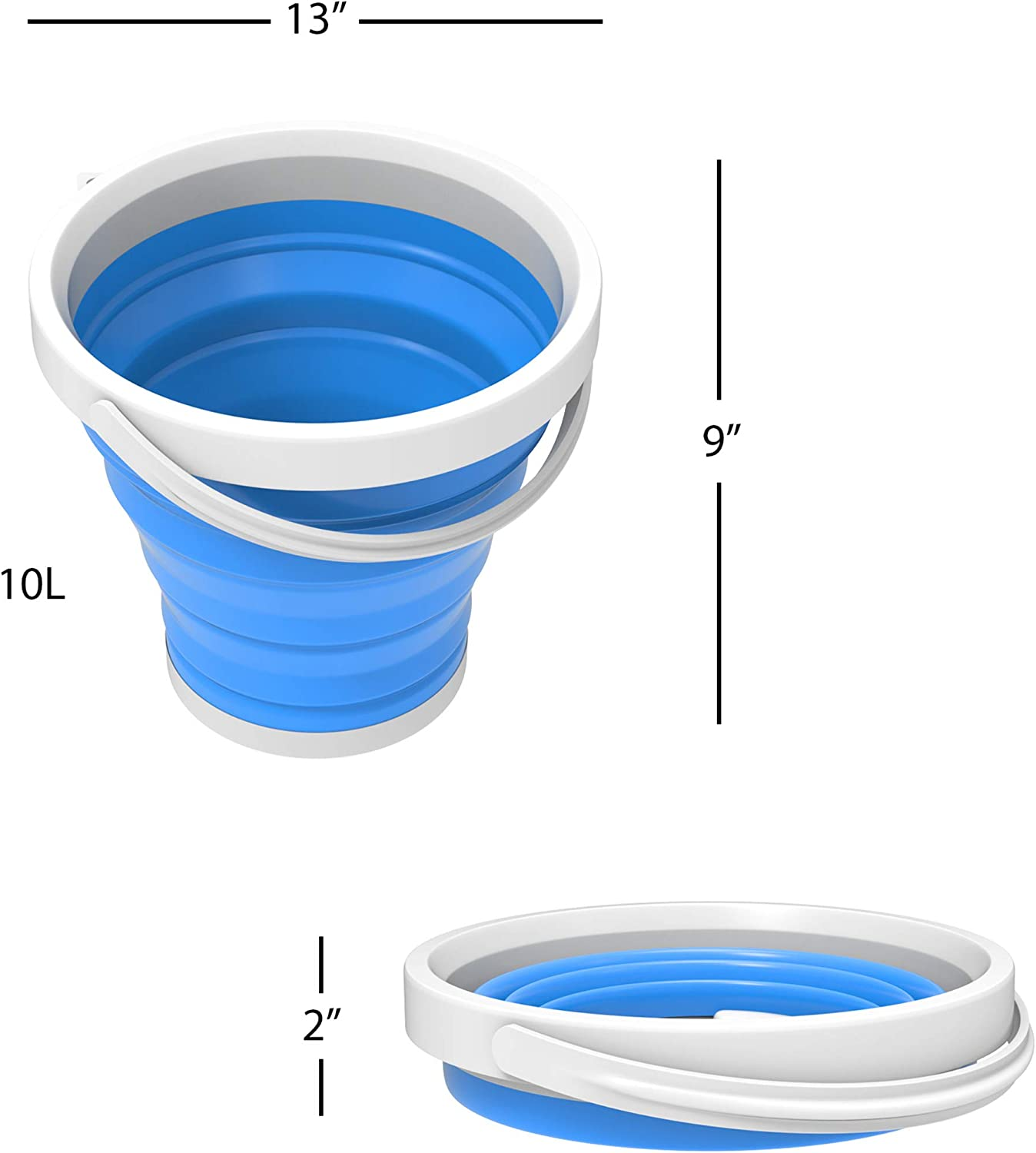 Fishing More Storage for Camping Wash Basin Tailgating Blue Wakeman Outdoors Multiuse Collapsible Portable Water//Ice Bucket