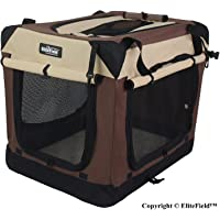 """EliteField 3-Door Folding Soft Dog Crate, Indoor & Outdoor Pet Home, Multiple Sizes and Colors Available (36"""" L x 24"""" W x 28"""" H, Brown+Beige)"""