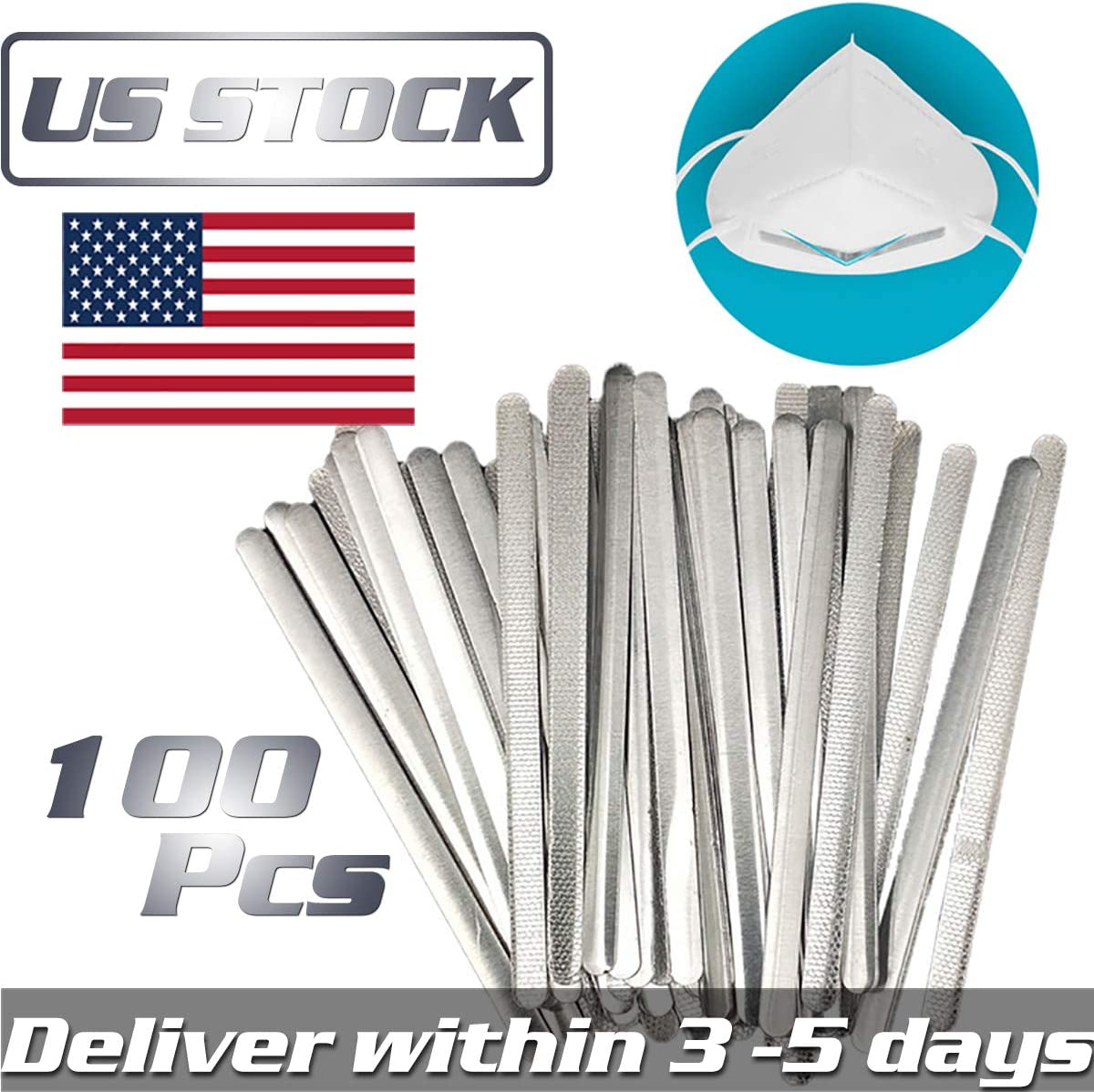 Aluminum Strips Nose Bridge Wire DIY Handmade Nose Pads for Face DIY Making Accessories and Nose Area for Crafting Mask Nose Adjuster Bridge Wire 100 Pcs