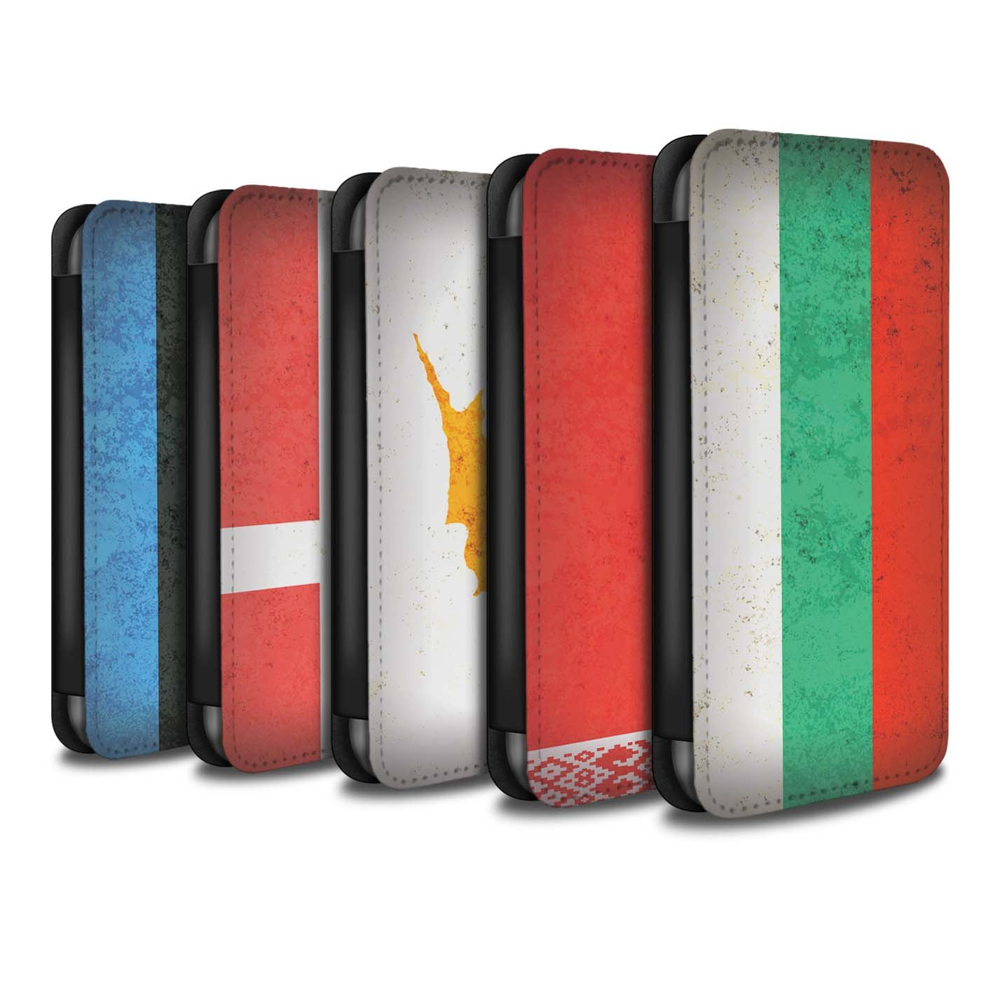 STUFF4 PU Leather Wallet Flip Case/Cover for Apple iPhone X/10 / Pack 14pcs Design / European Flag Collection by Stuff4® (Image #1)