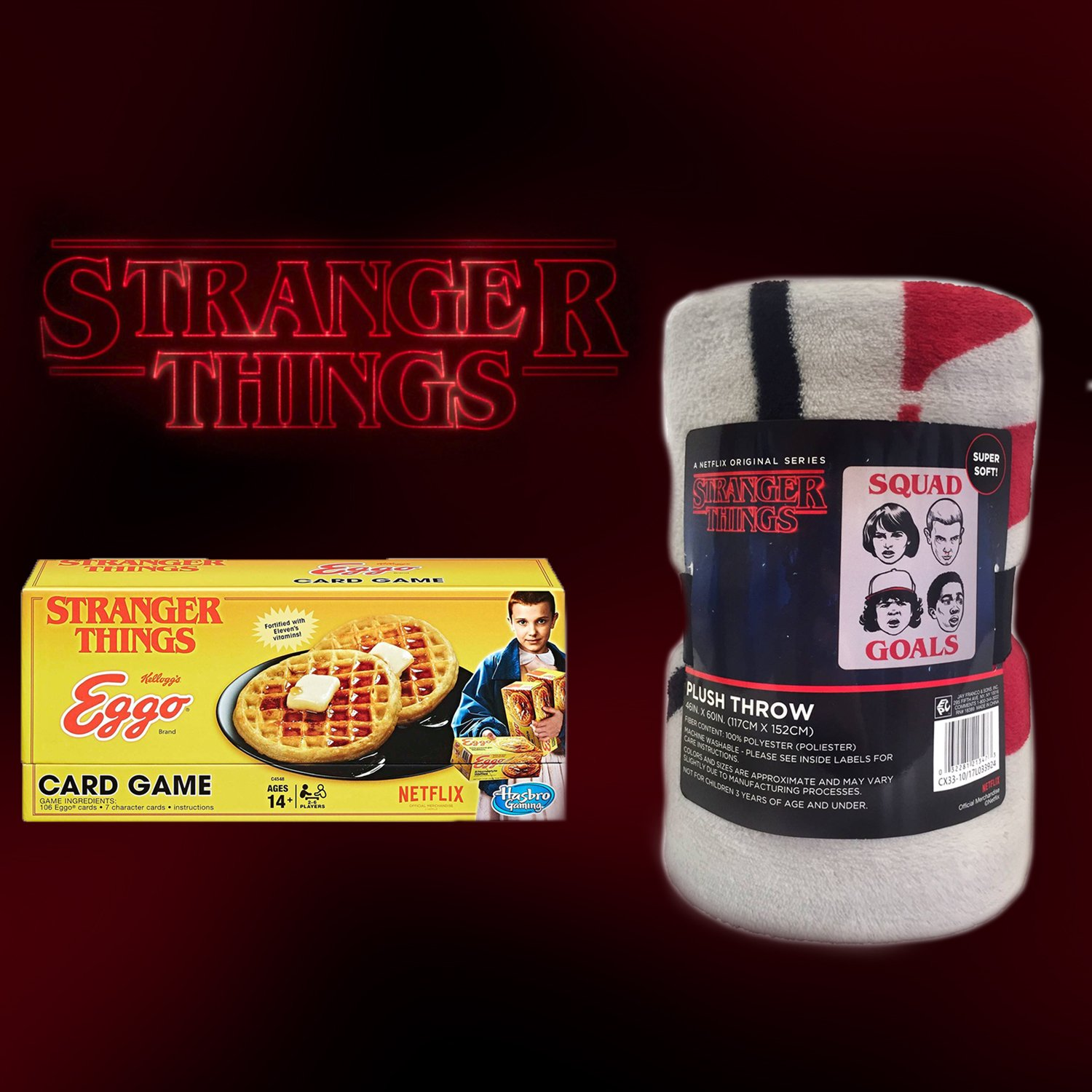 Stranger Things Exclusive Plush Blanket + Eggo Game Bundle