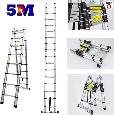 Escalera telescópica multiusos de aluminio, 5 m, plegable, con marco en A, extensible, 16 peldaños, Reino Unido: Amazon.es: Bricolaje y herramientas