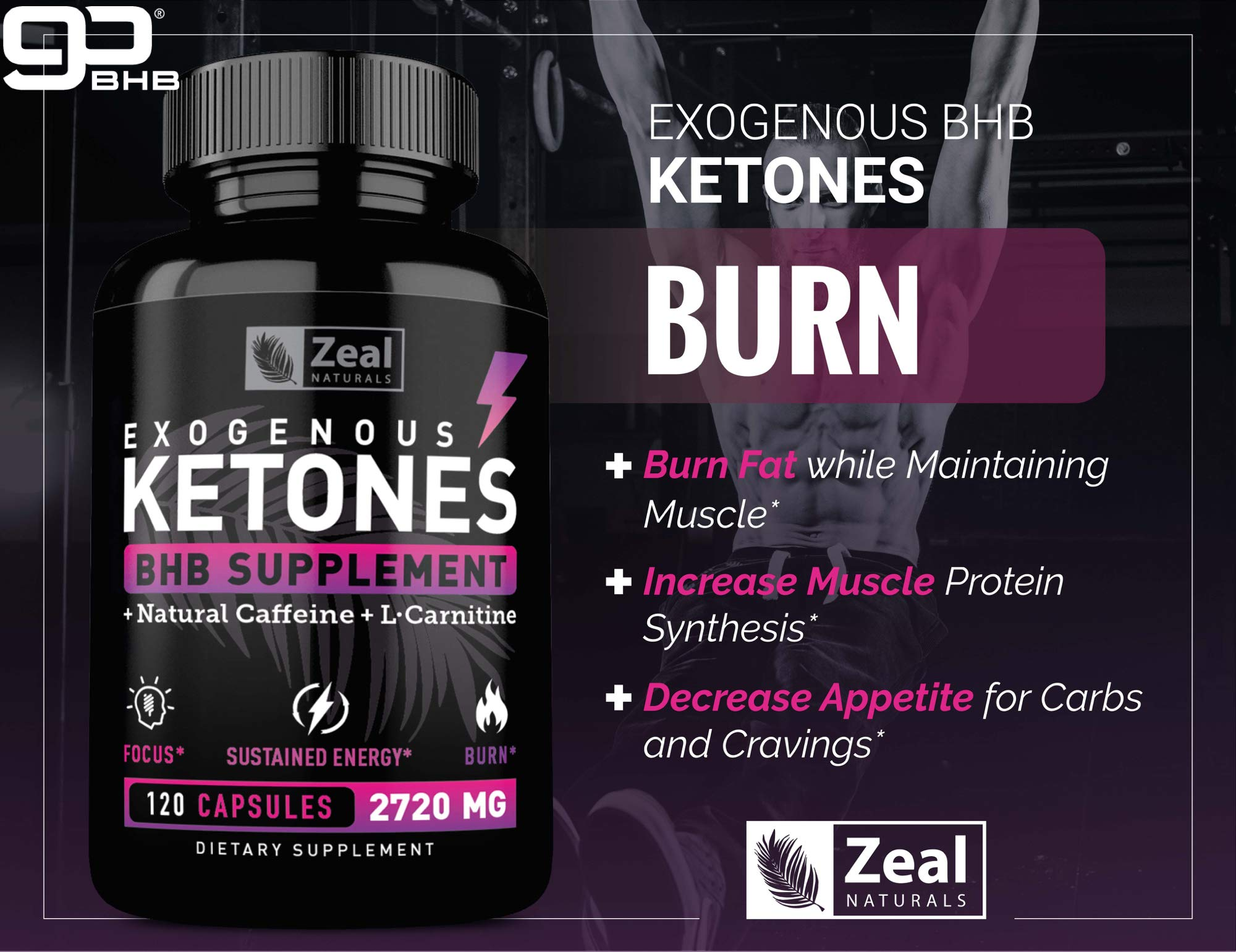 Keto BHB Exogenous Ketones Pills (2720mg | 120 Capsules) Keto Pills w. goBHB Salts, Natural Caffeine & L-Carnitine - Keto BHB Oil Capsules Beta Hydroxybutyrate for Weight Loss Keto Vitamins Keto Salts by Zeal Naturals (Image #6)
