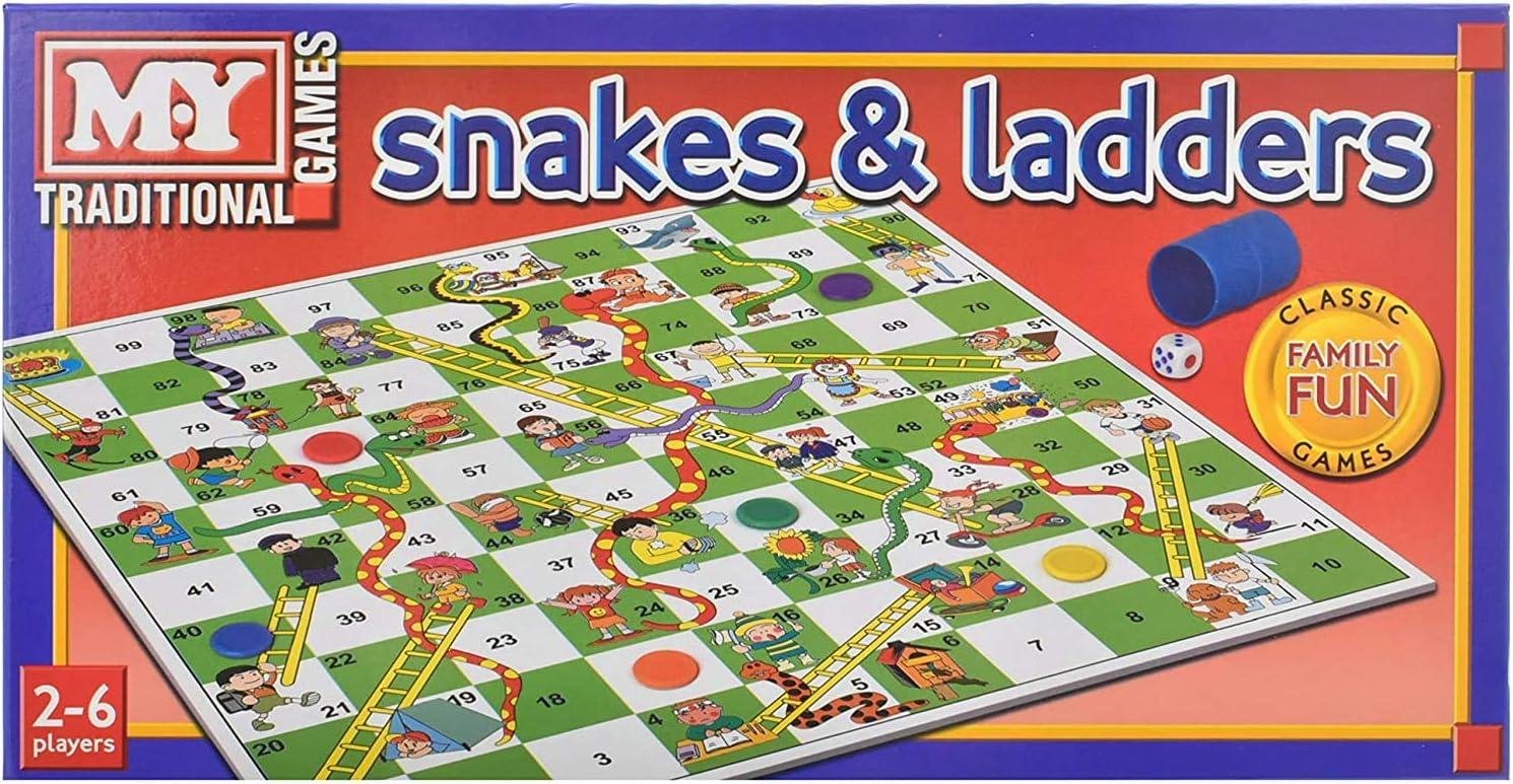 KT Serpientes y Escaleras Juego de Mesa Tradicional Juego de los niños