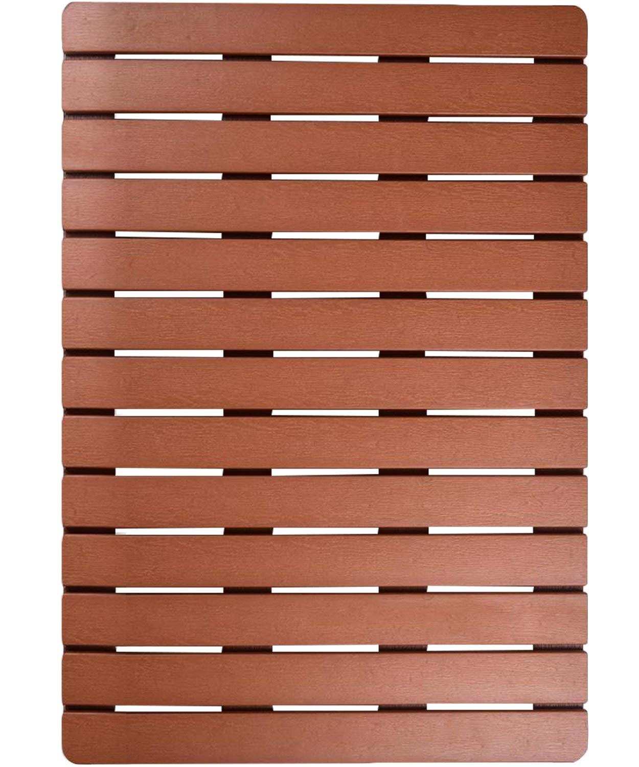 I FRMMY Premium Large Bath Tub Shower Floor Mat Made of PS Wood- Suitable for Textured and Smooth Surface- Non Slip Bathroom mat with Drain Hole- 20'' x 28.5'' (Teak Color) (Renewed)