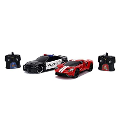 Jada Toys Hyperchargers Heat Chase Radio Control Vehicle - Twin Pack with USB Charging (2Piece), 1: 16 Scale, 2015 Dodge Charger SRT Hellcat & 2020 Ford Gt: Toys & Games