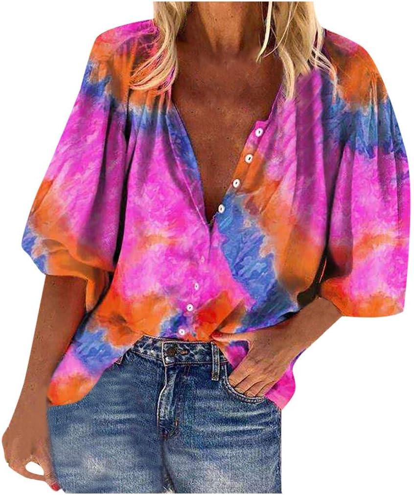 YANG  탑 타이 염료 프린트 셔츠 패션 여성 블라우스 루스 버튼 폴로 셔츠 하프 슬리브 티셔츠 캐주얼 풀오버