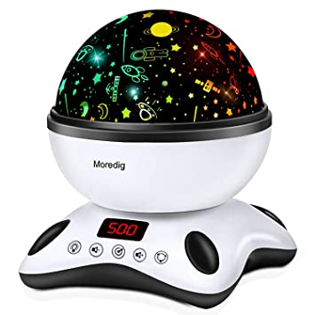 Moredig Night Light Projector Remote Control and Timer Design Projection lamp, Built-in 12 Light Songs 360 Degree Rotating 8 Colorful Lights for ...