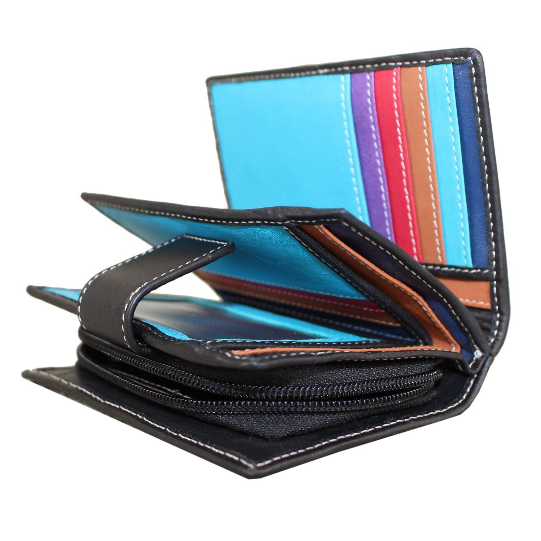 Rallegra Mens Large Multifold Wallet Black//Blue
