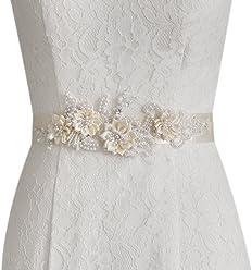 ULAPAN Womens Diamonds Wedding Dress Belt Sash Pearls Bridal Sash Belt,S74