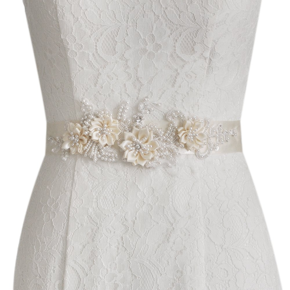 ULAPAN Women's Flowers Bridal Sash Bridal Belt Pearls Wedding Belts Wedding Sashes (White)