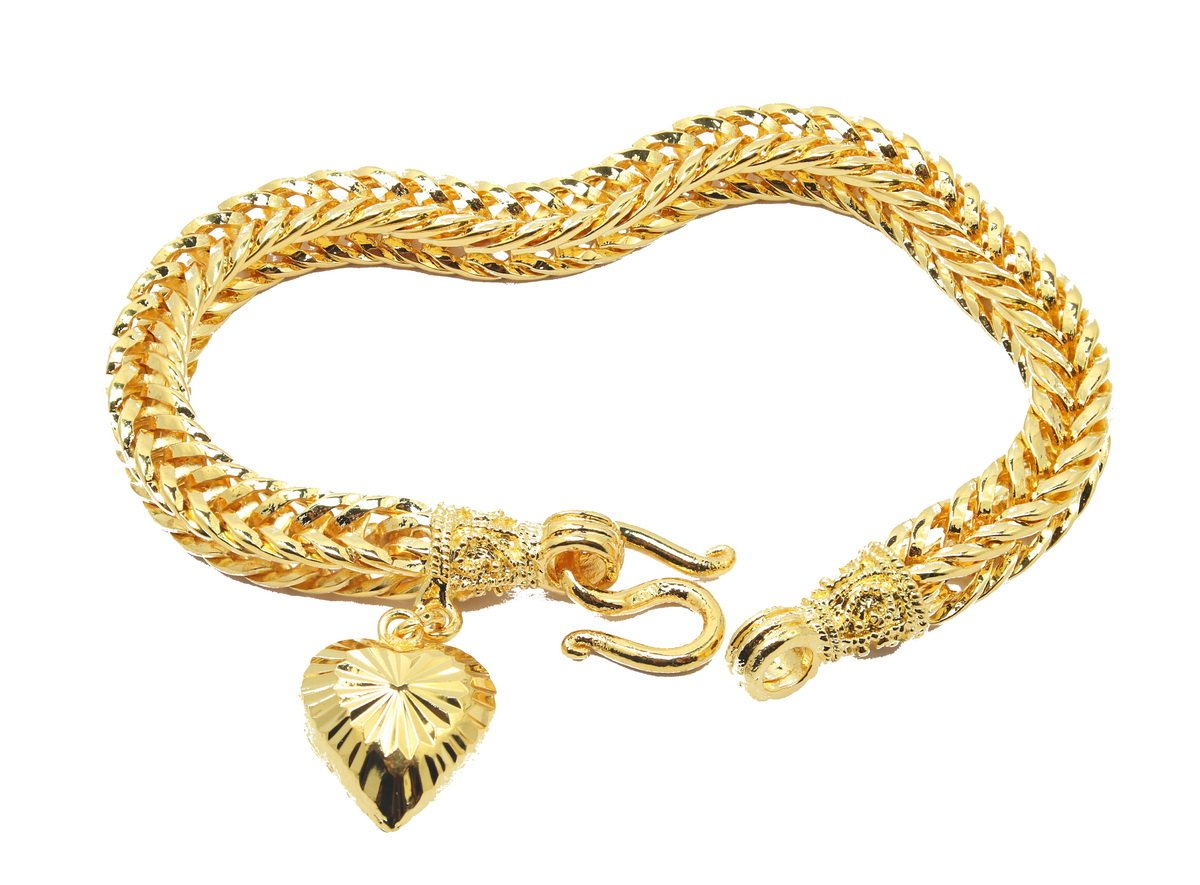 Classic Thai Style Bracelet 7 Inch with Heart Charm 24k Gold Plated Jewelry