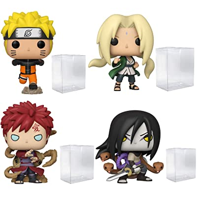 Funko Pop! Animation: Naruto - Naruto Running, Lady Tsunade, Gaara and Orochimaru - Bundle of 4 - in Playola Pop Protectors: Toys & Games
