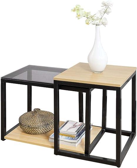 Sobuy Fbt35 Sch Set Of 2 Coffee Tables Side Tables Sofa Table Coffee Table Amazon De Kuche Haushalt