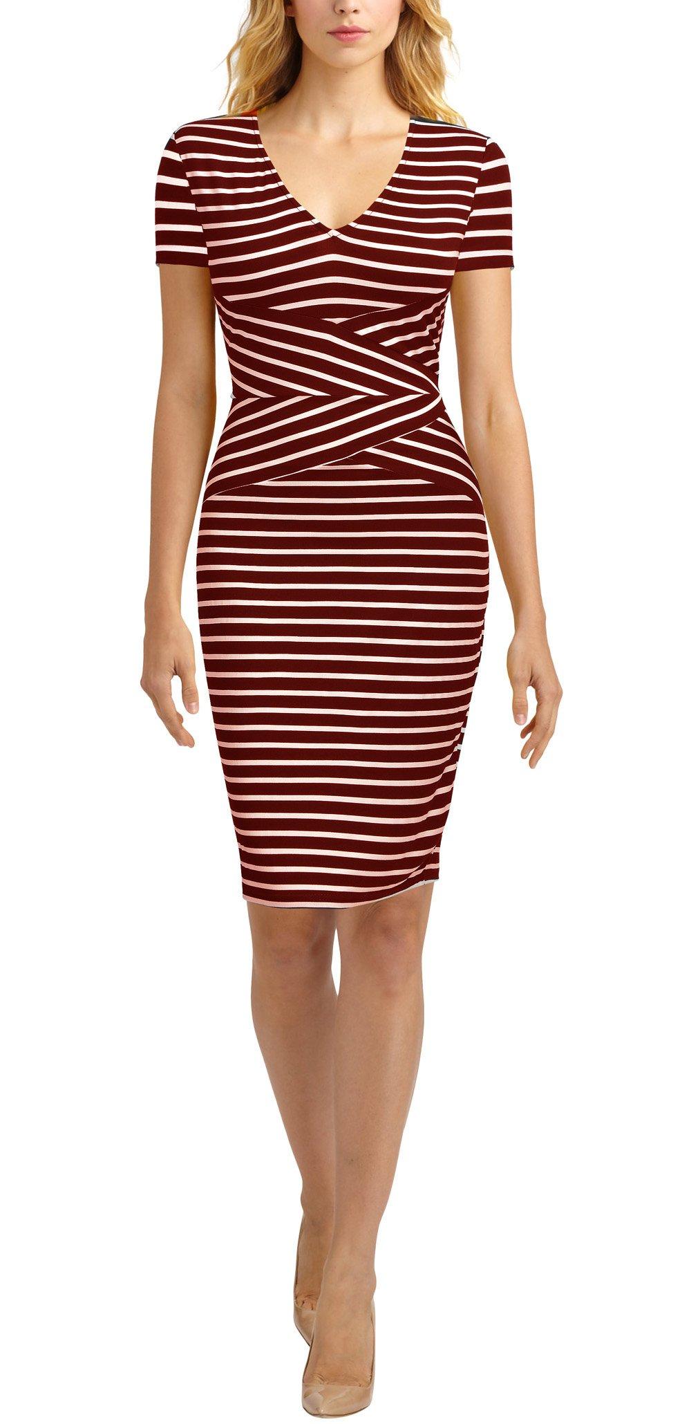 Mmondschein Women Short Sleeve Striped Wear to Work Business Pencil Dress (S, Burgundy)