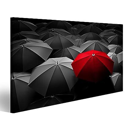 islandburner Cuadro Paraguas Rojo se destacan de la Multitud de Muchos Paraguas Blancos y Negros Impresión