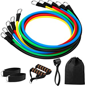 VSNOON 11 Pack Resistance Bands Set, Portable Home Workouts Accessories, Exercise Bands with Door Anchor, Handles, Legs Ankle Straps for Resistance Training, Physical Therapy, Yoga, Pilates
