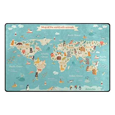 Amazon.com: My Daily Cartoon Map of The World with Animals ... on world map table, mid-eastern red rug, world map accent rug, world map marble, world map mirror, world map fan, world map tiles, world map home decor, world atlas curtains, world map of the future, learning rug, world map couch, world map chest, world map drapery, world map green, kashmir rug, world map tv, circle time rug, world map dining room, world map 7 continents oceans,