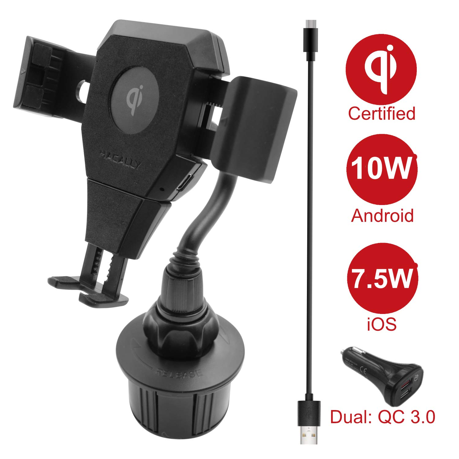 Macally Wireless Charging Car Mount, Cup Holder Phone Mount Charger Compatible with Fast Charging Qi 10W 7.5W Smartphones for Apple iPhone Xs XS Max XR X 8 8 Plus 7 7+ SE 6s 6 Samsung Galaxy S10 S9 S8