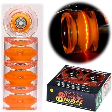 Sunset Skateboards 59mm Cruiser LED Lights Wheels Set w// ABEC-9 Bearings 4-Pack