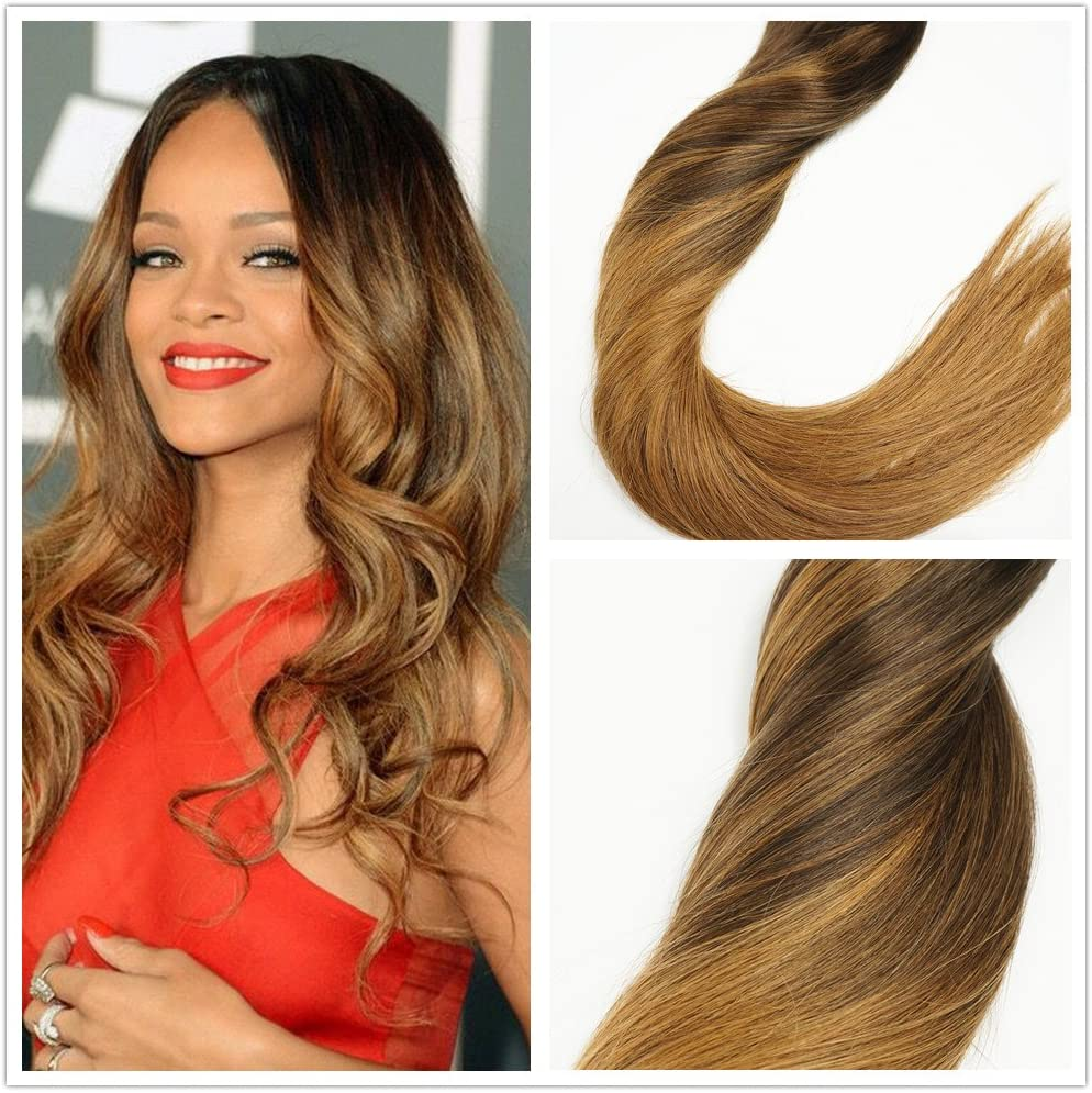 Stella reinatm 120 g balayage Ombre Hair Blonde Highlights color # 4 P4/18 A La decoloración a # 18 rubio oscuro Remy Cabello humano clip en ...