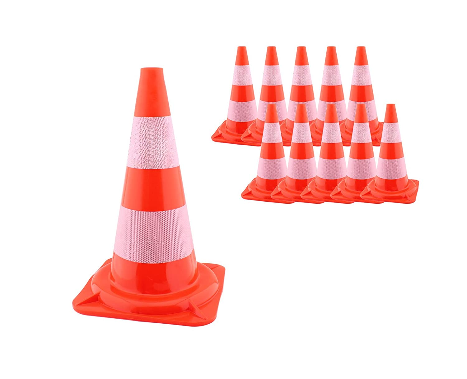Pack of 10 47 cm Traffic Cone Pylon Orange White Warning Cone