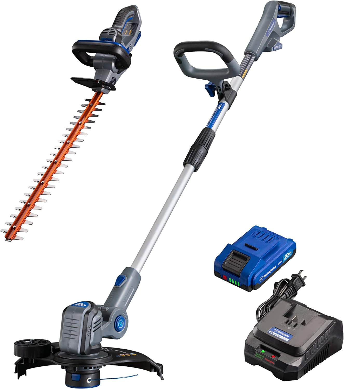 Westinghouse Cordless Hedge String Trimmer Edger, 2.0 Ah Battery and Rapid Charger Included