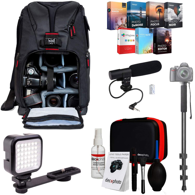 Deco Gear Pro Mobile Video Elite Bundle | Sling Backpack,Shotgun Mic,Video Light & More by Deco Gear
